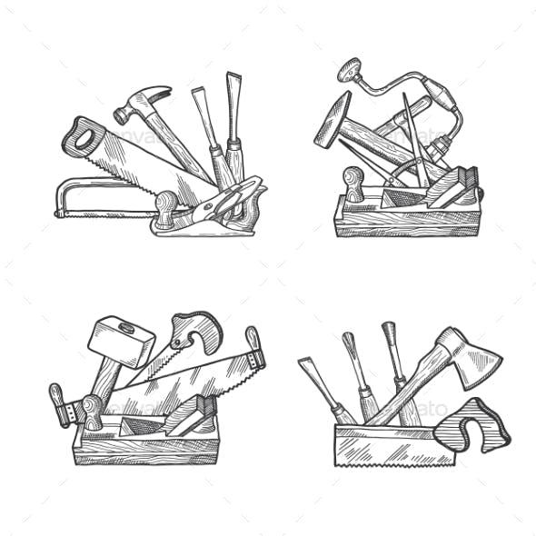 Vector Hand Drawn Woodwork Tools Set