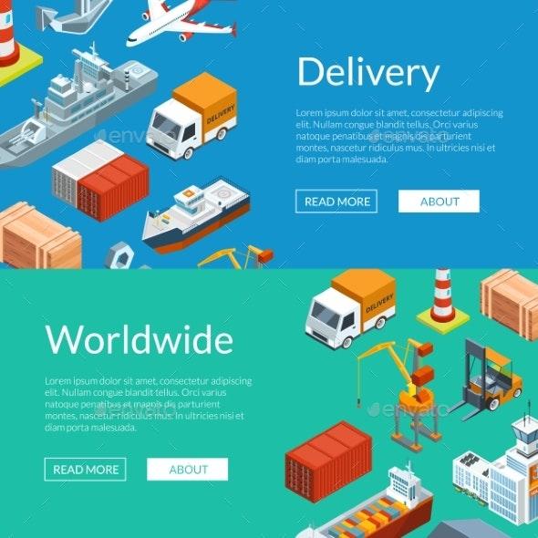 Vector Isometric Marine Logistics and Seaport Web - Miscellaneous Vectors