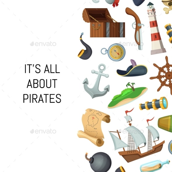 Vector Cartoon Sea Pirates Background with Place - Miscellaneous Vectors