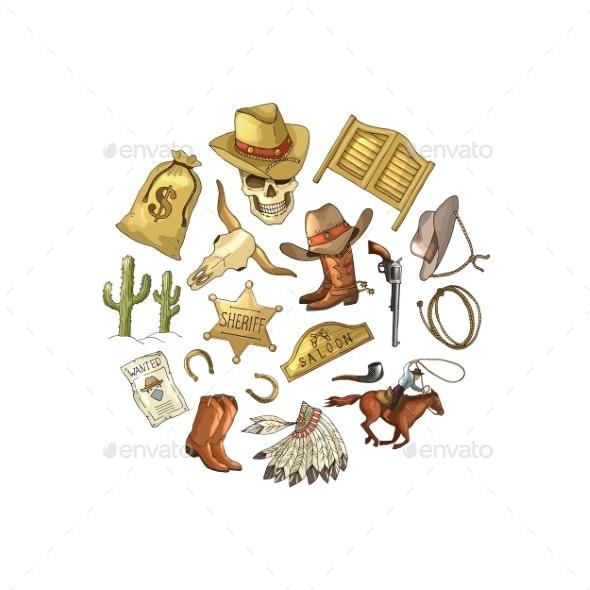 Vector Hand Drawn Wild West Cowboy Elements - Miscellaneous Vectors