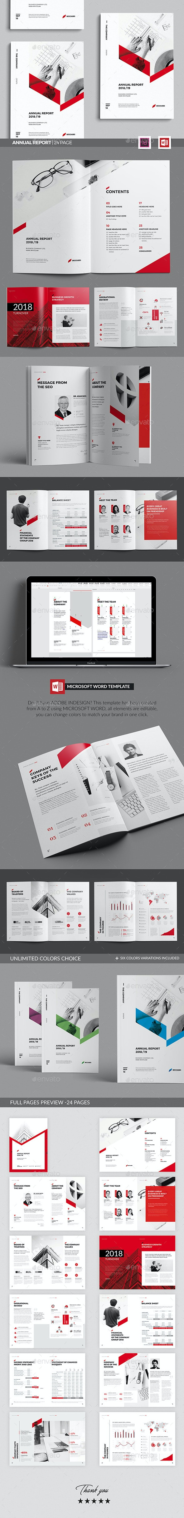 Sharp Annual Report, Word Annual Report Template - Brochures Print Templates