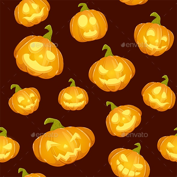 Dark Seamless Background with Smiling Pumpkins for Halloween - Halloween Seasons/Holidays