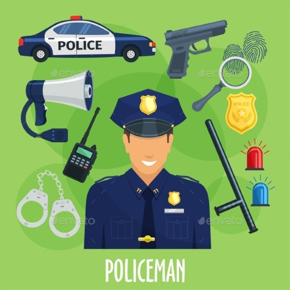 Vector Poster of Policeman Occupation Items - People Characters