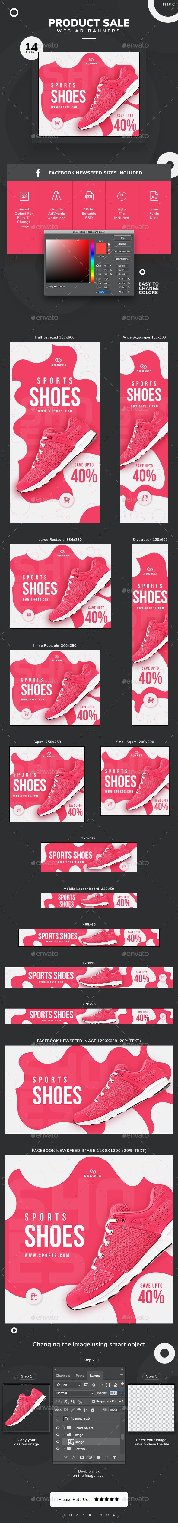 Product Sale Web Banner Set - Banners & Ads Web Elements