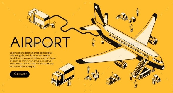 Airplane in Airport Vector Halftone Illustration - Travel Conceptual