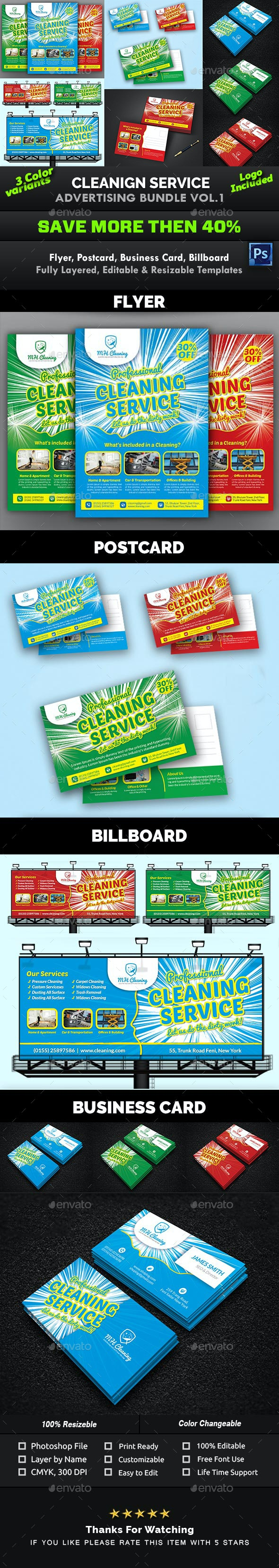 Cleaning Service Advertising Bundle Vol.1 - Print Templates