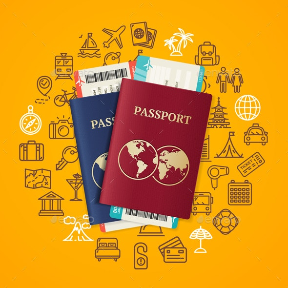 Travel and Tourism Concept Card with Passport - Travel Conceptual
