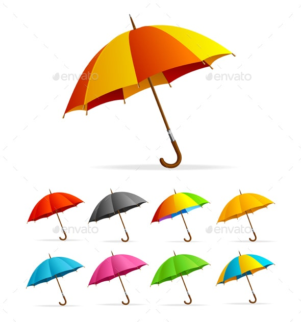 Realistic Detailed Color Umbrella Set - Man-made Objects Objects