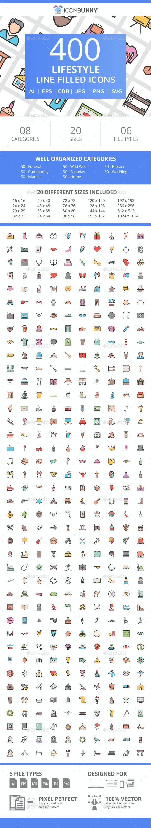 400 Lifestyle Filled Line Icons - Icons