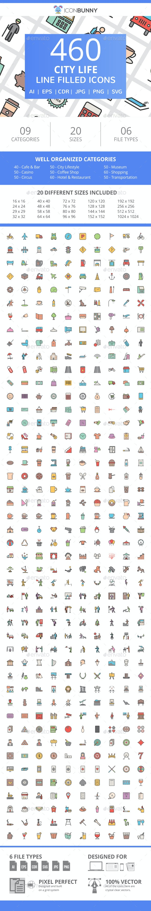 460 City Life Filled Line Icons - Icons