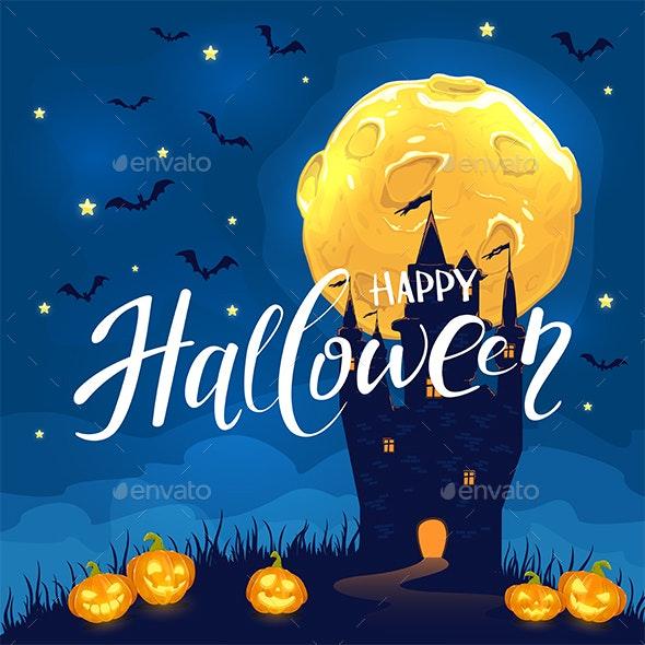 Happy Halloween with Castle and Pumpkins - Halloween Seasons/Holidays