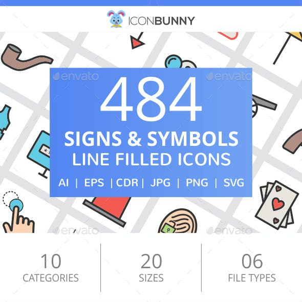484 Signs & Symbols Filled Line Icons