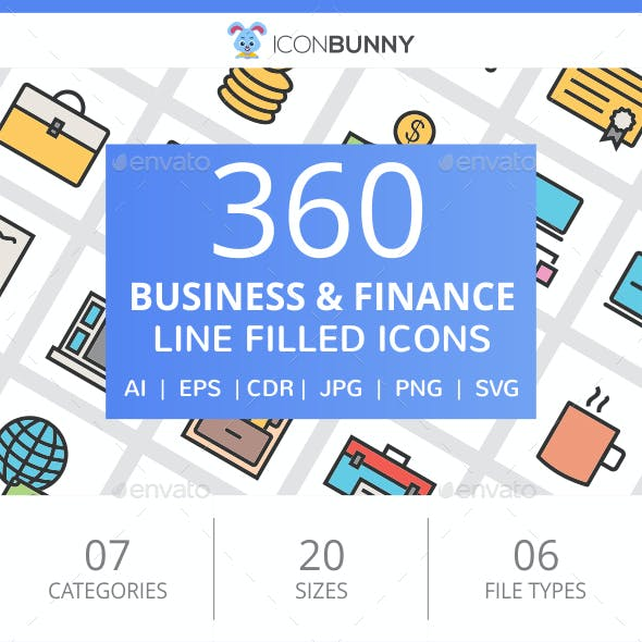 360 Business & Finance Filled Line Icons