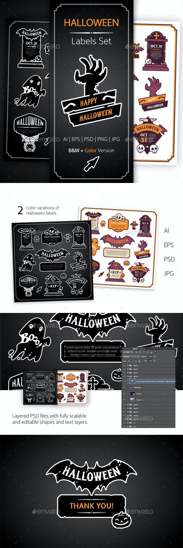 Halloween Design Labels Set - Decorative Symbols Decorative