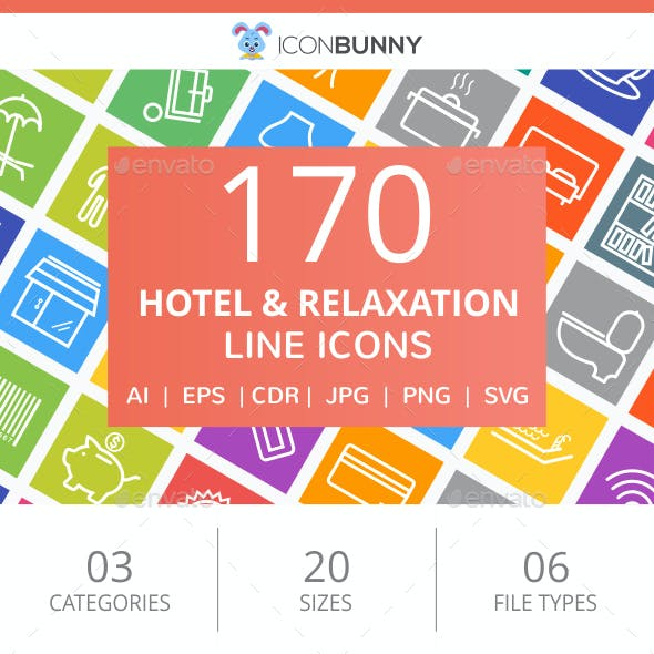 170 Hotel & Relaxation Line Multicolor B/G Icons