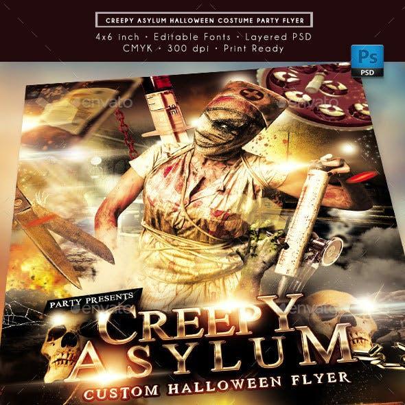 Creepy Asylum Halloween Costume Party Event Flyer