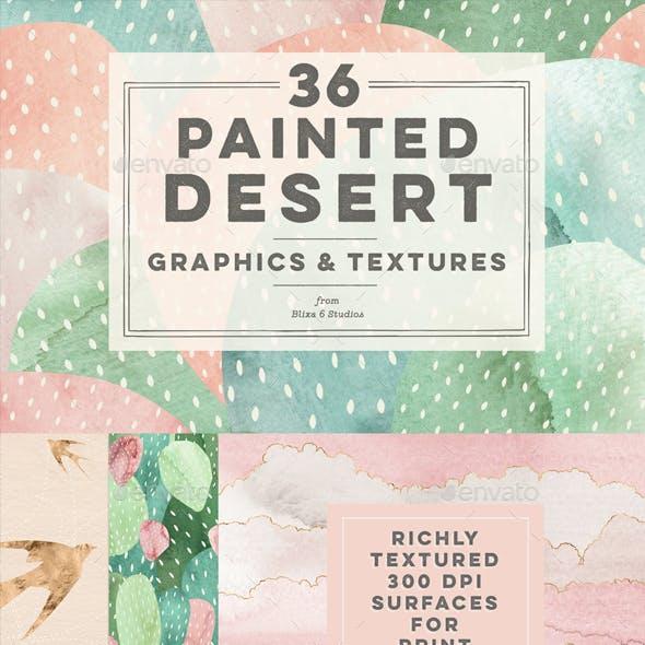 36 Painted Desert & Cactus Background Graphics