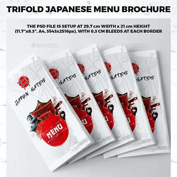 Trifold A4 Japanese Menu Template vol.2