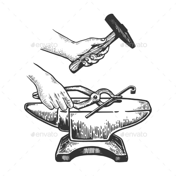 Anvil and Hammer Engraving Vector Illustration - Miscellaneous Vectors