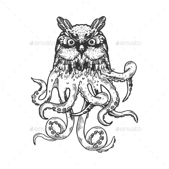 Owl Octopus Animal Engraving Vector