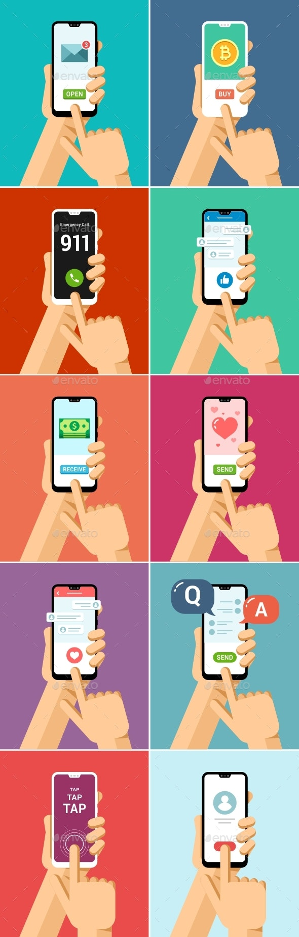 Phone in Hand Mock-Up Flat Vector Set 1 - Communications Technology