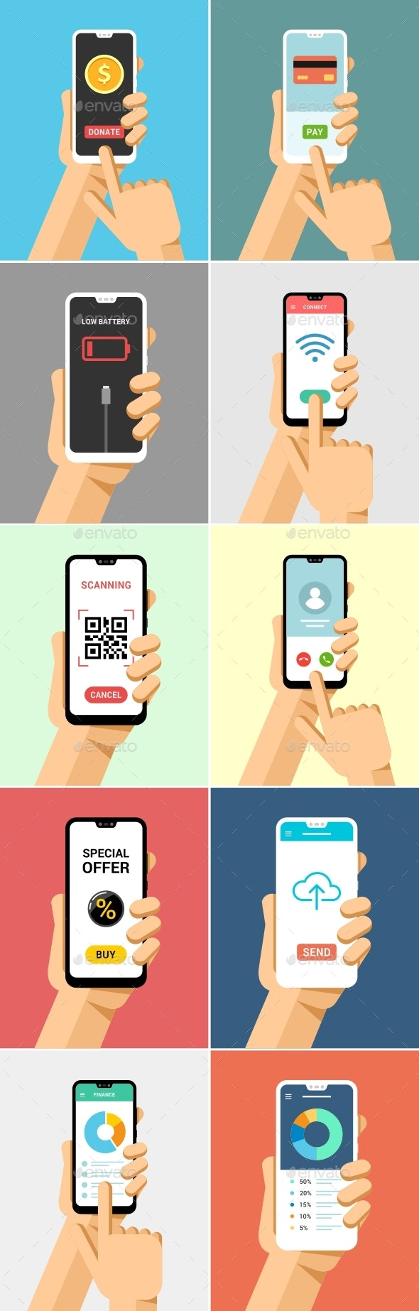 Phone in Hand Mock-Up Flat Vector Set 2 - Communications Technology