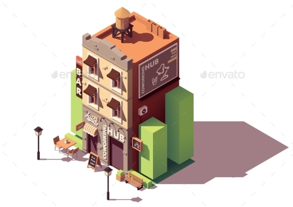 Vector Isometric Coworking Building - Buildings Objects