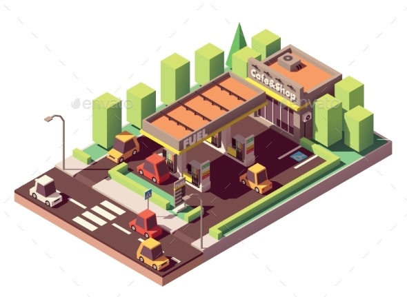 Vector Isometric Gas Station - Buildings Objects