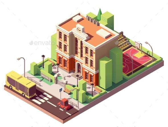 Vector Isometric School Building - Buildings Objects