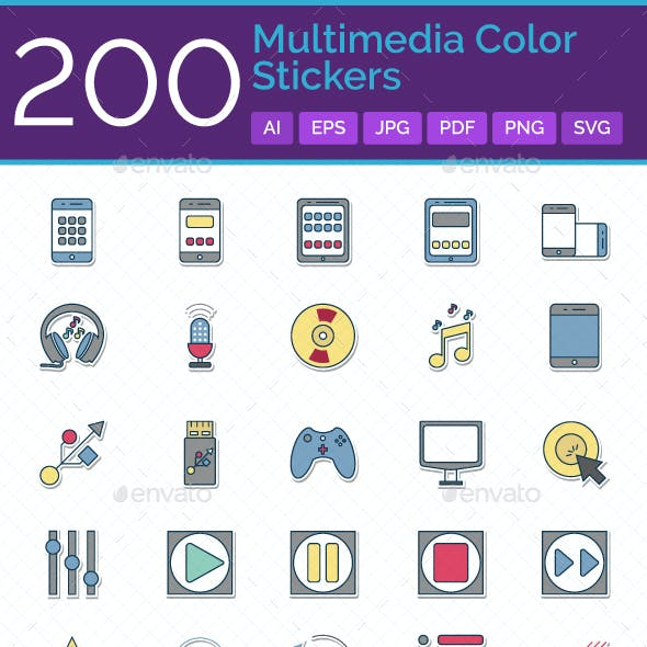 200 Multimedia Glyph Stickers Vector Icons Set