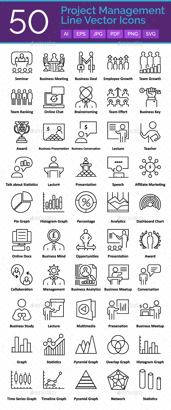 50 Project Management Vector Icons Set - Icons