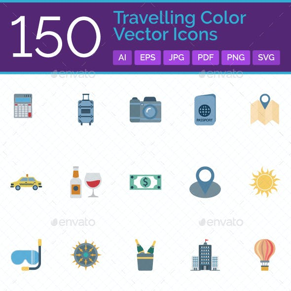 150 Travelling Vector Icons Set