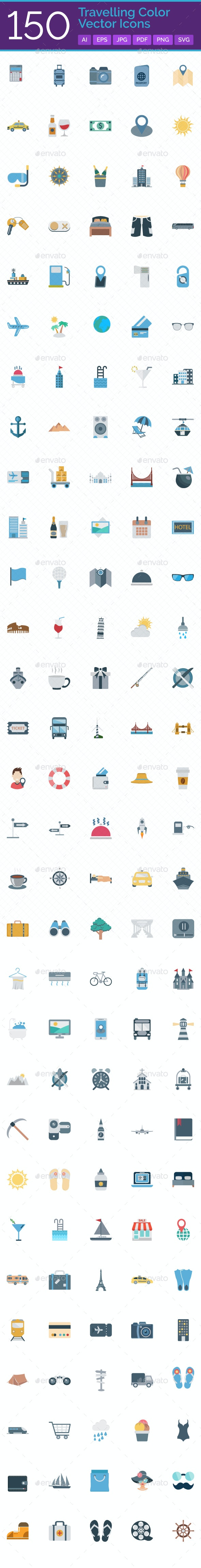 150 Travelling Vector Icons Set - Icons