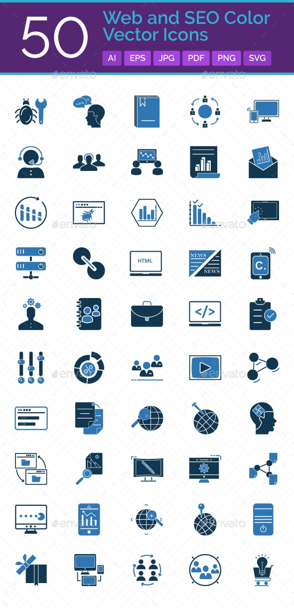 50 Web and SEO Vector Icons Set - Icons