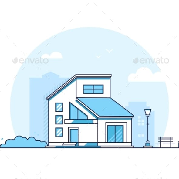 Cottage House - Modern Thin Line Design Style