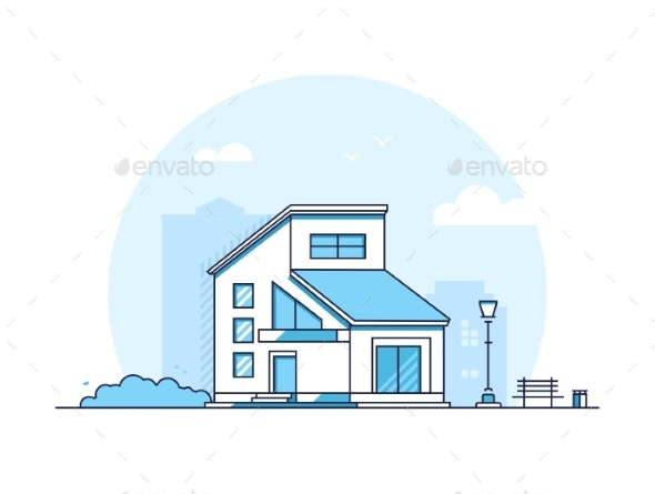 Cottage House - Modern Thin Line Design Style - Buildings Objects