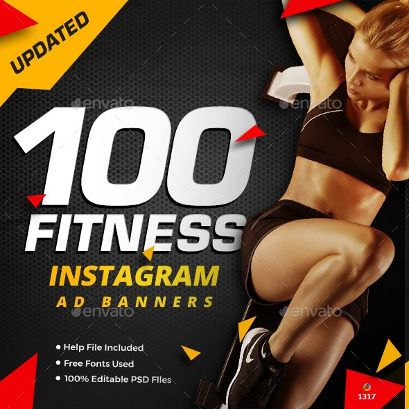 Gym & Fitness Instagram Banner Templates - 100 Designs - Updated! - Miscellaneous Social Media