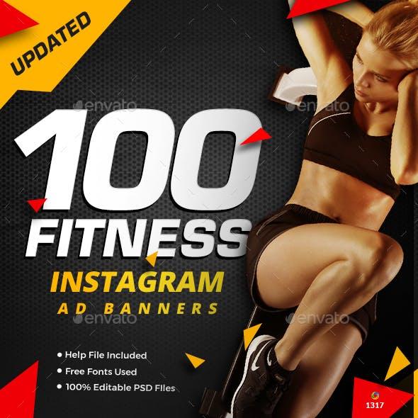 Gym & Fitness Instagram Banner Templates - 100 Designs - Updated!