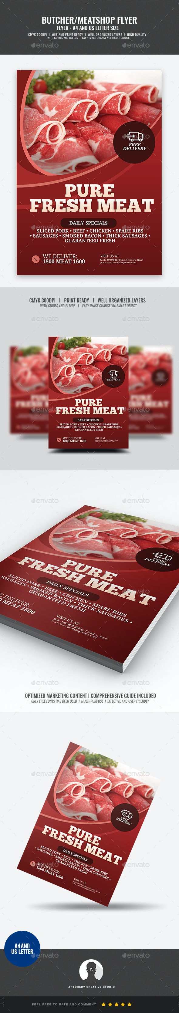 Butcher and Meat shop Flyer - Commerce Flyers