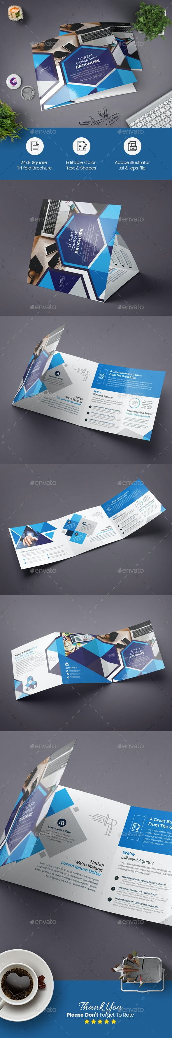 Geometric Square Tri-Fold Brochure - Corporate Brochures