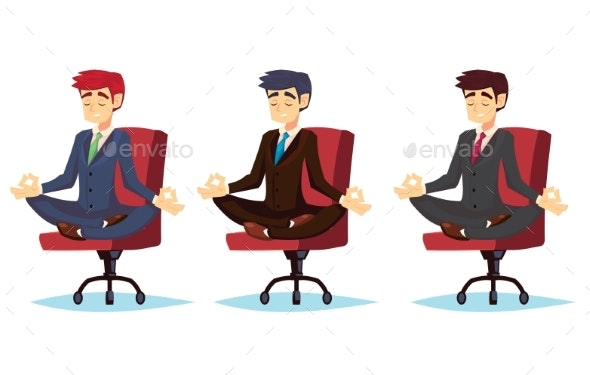 Illustration of a Calm Young Cartoon Businessman - People Characters