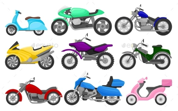 Flat Vector Set of Colorful Motorcycles - Miscellaneous Vectors