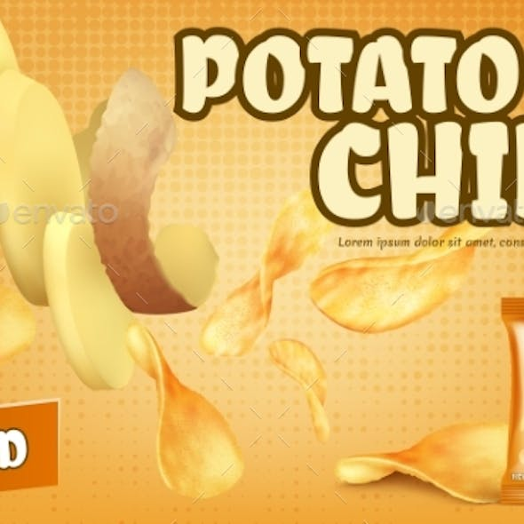 Vector Promotion Banner with Crispy Potato Chips