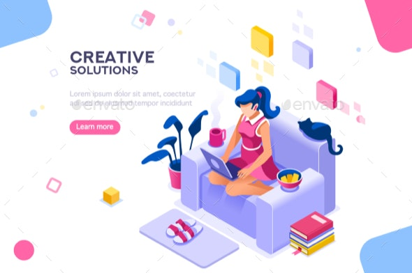 Modern Girl Theme for Website - People Characters