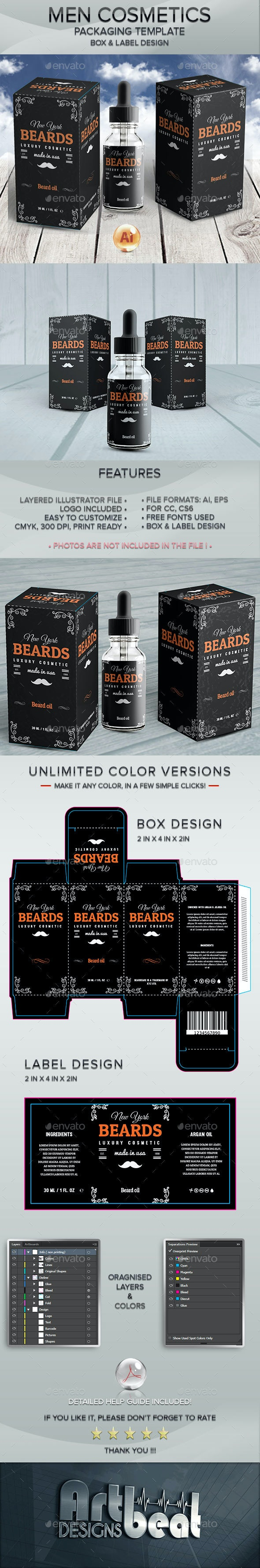 Beard Care Cosmetics - Packaging and Label Template 3