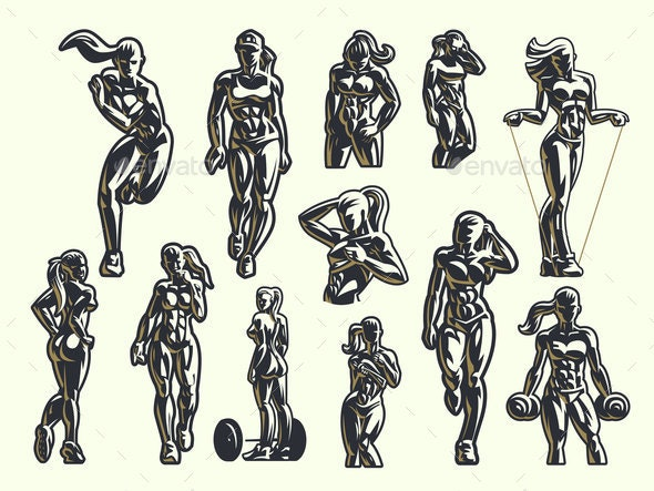 Woman Fitness Emblem Set - People Characters
