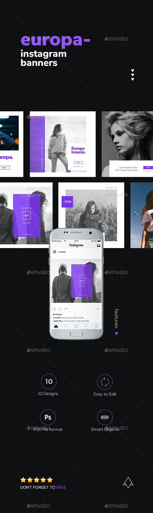 Europa Zero - Modern Instagram Banners - Social Media Web Elements