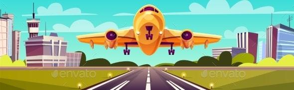 Vector Cartoon Yellow Airliner - Travel Conceptual