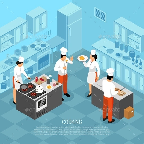 Cook Duties Isometric Composition - Food Objects