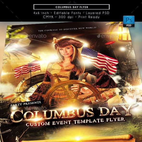 Columbus Day Holiday Event Flyer